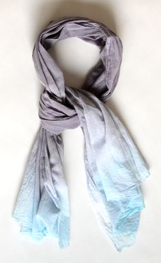 Hand dyed cotton scarf gray and aqua ombre wrap by Amayahandmade