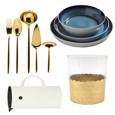 With their bright color and streamlined design, these plates go perfectly with polished-brass flatwear.