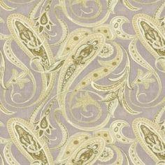 Pale Green Paisley Linen Fabric   Lazily Paisley : Stone   Loom Decor