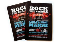 ROCK AND ROLL BABY SHOWER  | rock 'n' roll themed baby shower invitation. That's right.