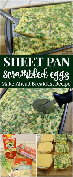 This quick and easy recipe for Sheet Pan Scrambled Eggs is perfect for busy mornings. These make-ahead eggs can also be made into an egg muffin sandwich. Simple Sheet Pan Eggs Recipe and make-ahead breakfast sandwich recipe. Breakfast On The Go, Paleo Breakfast, Breakfast Recipes, Breakfast Ideas, Breakfast Time, Frozen Breakfast, Make Ahead Breakfast Sandwich, Breakfast Burritos, Brunch Ideas