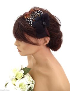 Elegant Small Bronze Brown Feather And Bow Headband Fascinator Hatinator Races