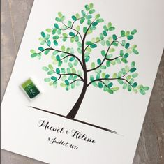 Tree prints on cardboard or PDF file Fingerprint Tree, Lol, Frame It, Give It To Me, Place Card Holders, Animation, Etsy, Occasion, Draw
