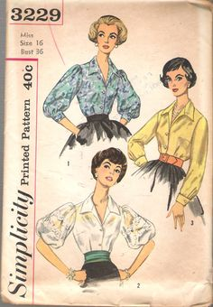 Simplicity Pattern 3229 Misses' Blouse Pattern with Puff Sleeves Dated 1961 Complete Nice Condition 9 of 9 Pieces Counted. Size 12 Bust) We Sell the Best Vintage Sewing Patterns and Embroidery Transfers! Simplicity Sewing Patterns, Vintage Sewing Patterns, Clothing Patterns, 50 Style Dresses, Vintage Outfits, Vintage Fashion, Blouses For Women, 1950 Style, 1960s