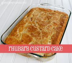 Rhubarb Custard Cake recipe | QueenBeeCoupons #rhubarb #recipes #cake