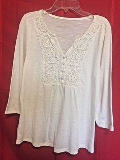 Sonoma White Top Size S Smock Front with Lace Inset Covered Buttons 3/4 Sleeves  #Sonoma #SmockTop #Career