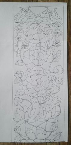 인두판 유물 보고 도안 재현~ 15×40. 유물에 있는 꽃들 먼저 자로 꼼꼼히 위치 재고, 연... Mexican Embroidery, Chinese Embroidery, Hand Embroidery Art, Lotus Kunst, Lotus Art, Border Embroidery Designs, Floral Embroidery Patterns, Art Floral, Thailand Art