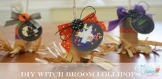 DIY Witch Broom Lolli Pops tutorial with step by step photos and free printable  #halloween #favor #party #crafts #witch #witchbroom #create