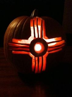 Zia symbol carved into a pumpkin. From Meanwhile in New Mexico via Facebook.