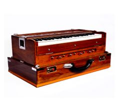 Harmonium1 Harmonium 3 1/4 octave 8 Knobs 2 sets of reeds  Double bellows  Comes with a carry bag  In teak wood , 9 stoppers, folding pattern, half vertical