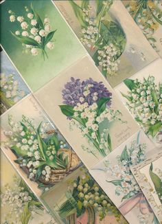 ~20  NICE LILY OF THE VALLEY Flowers Greetings  Postcards Lot-Vintage~a410 #HolidaysGreetings