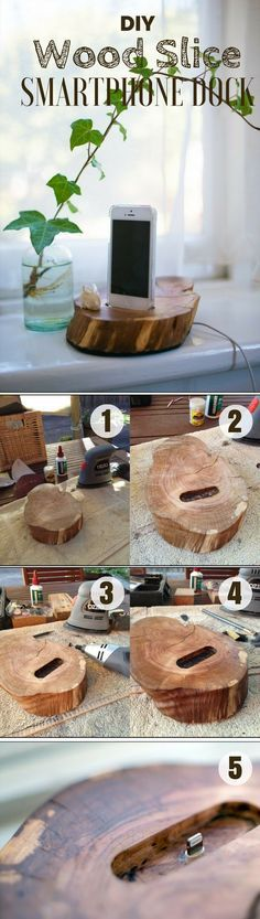 Check out how to build this easy DIY Wood Slice Smartphone Dock @istandarddesign
