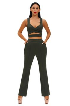 Army Green Cross Front Crop Top and Pocket Pant Set 6708ba33a