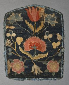 Pocketbook Category: Textiles (Needlework)  Place of Origin: United States, North America  Date: 1730-1780  Materials: Linen; Wool; Cotton; Silk  Techniques: Embroidered, Woven (plain), Sewn