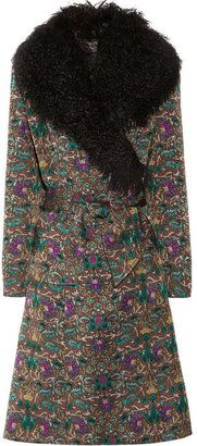 ShopStyle: Duro Olowu Silk-brocade and shearling coat