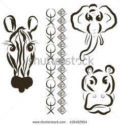 Set of hippo, elephant and zebra with two border ornaments. Isolated black and white.  - stock vector