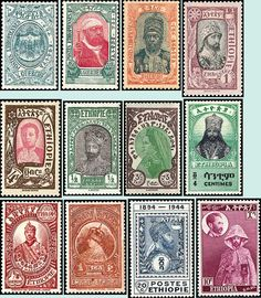 First postage stamps. Ethiopia
