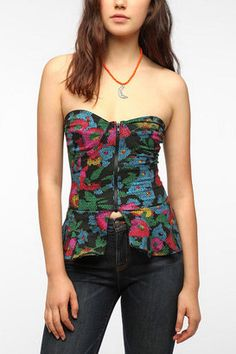 ShopStyle: Motel Kelsey Cropped Strapless Peplum Top