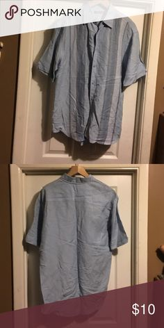 Men Shirts Blue pin stripes in front and back is solid blue buttons.Good condition.Can be worn as desired casual or dress.58% linen and 48% Rayon. Cubavera Shirts Dress Shirts