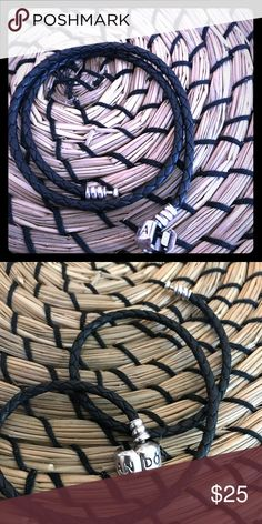 Pandora double black leather bracelet Pandora double wrap leather bracelet size small Used but in great condition no scratches  Come in a pandora bracelet box with a small gift  Same or next day shipping Pandora Jewelry Bracelets