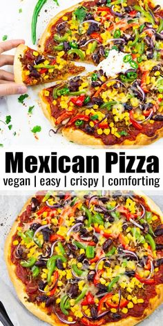If you can't decide between Mexican food and pizza, you should try this Mexican pizza! It's vegan, super easy to make, ands so comforting. Perfect for the whole family! Find more easy vegan recipes at Vegan Recipes Plant Based, Vegan Mexican Recipes, High Protein Vegan Recipes, Vegan Recipes Beginner, Vegan Lunch Recipes, Recipes For Beginners, Delicious Vegan Recipes, Vegan Dinners, Easy Recipes