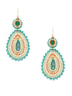 Large Multicolor Bead & Amazonite Double Drop Earrings by Miguel Ases