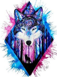 galaxy wolf Art Print by Jonna Lamminaho Galaxy Wolf, Galaxy Art, Wolf Painting, Painting & Drawing, Fantasy Kunst, Fantasy Art, Fantasy Wolf, Animal Drawings, Cool Drawings