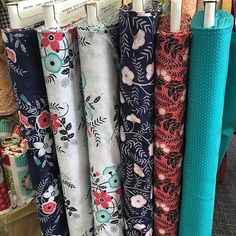 Fun, fresh colors and prints in @clothworks Cherry Mint fabric collection. I…