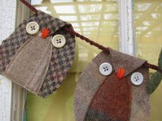 Items similar to Up-Cycled Wool Owl Garland Woodland Bird Bunting Eco-Friendly Nursery Decor Birthday Party Banner on Etsy Owl Bunting, Bunting Garland, Buntings, Owl Banner, Bunting Ideas, Paper Bunting, Fabric Garland, Sewing Crafts, Sewing Projects