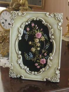 Antique Look - Artisan Handmade Embroidered Floral Spray in Hand Altered Picture Frame OOAK