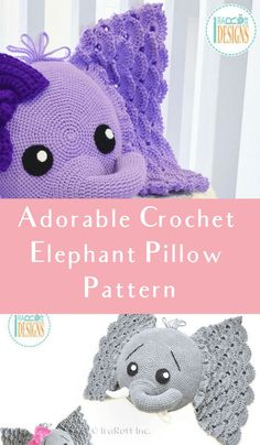 Crochet Elephant Pattern - Crochet News This crochet elephant pillow pattern is perfect for a baby's nursery or a child's room. You can work this up in a traditional elephant gray, or any color! Elephant Blanket, Elephant Applique, Baby Elephant, Easy Crochet, Crochet Baby, Crochet Toys, Free Crochet, Crochet Animals, Crochet Pillow
