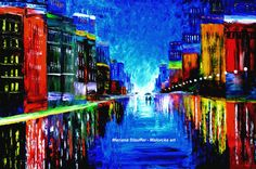 cityscape paintings rain painting couple night street by malorcka, $285.00