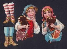 Victorian Die Cuts Girl Boy Paper Doll Hansel Gretel Love Heart Cookie Die Cuts (10/26/2013)