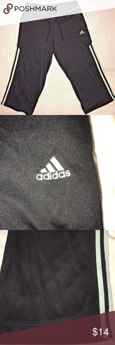 Adidas Black w/ Teal Stripe Capri Athletic Pants S Adidas Black Yoga Athletic Capri Sweat Pants  Women's Small Excellent Condition.  Very Nice! adidas Pants Track Pants & Joggers