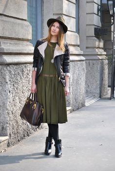 Rolled sleeves, Breezy dress. Tights with booties. Hat. Great for late winter, early spring.