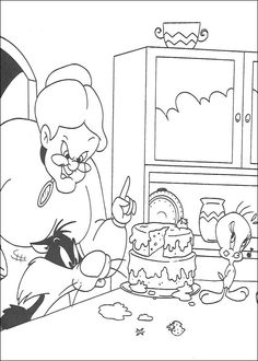 Dibujos para Colorear Silvestre y Piolin 41