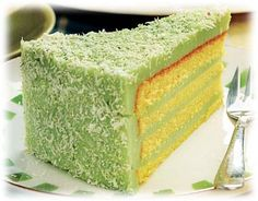 Pandan Layer Cake... a little about pandan - Pandan leaves have a sweet, unique flavor that is commmonly used in Southeast-Asian countries to enhance both desserts and savory dishes. The leaves are long and bright green, and when pounded or ground, they lend a sweet taste and aroma to many Thai desserts and some drinks.