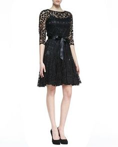 3/4 sleeve black dress   Sleeve Lace Overlay Cocktail Dress, Black by Rickie Freeman for ...