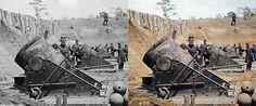 US Civil War - 13 inch mortars - ca. May 1862 - Yorktown Virginia. Battery No. 4 1st Connecticut Heavy Artillery South End.