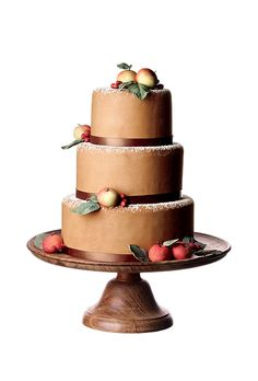 Brides.com: The Most Creative Wedding Cakes of the Year. A White Cake, New York, NY. A wonderfully wintry wedding cake like this one, complete with marzipan fruit, is perfect for a rustic, mountainside celebration.  Tiered brown fondant wedding cake with marzipan apples, $13 per serving (serves 60), A White Cake  See more brown wedding cakes.