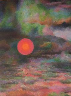 "GRACE WOOD HERRING (Amer) ""Cloud Color Sun ""Ca1950 Oil Abstract Oil Framed"