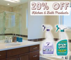 Built up soap scum? No problem. Save 20% on Kitchen & Bath products at http://buy.simplegreen.com #sale #clean #bathroom Offer available through 02.02.15 or while supplies last.
