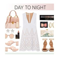 """""""#daytoevening"""" by hellodollface ❤ liked on Polyvore featuring STELLA McCARTNEY, Mansur Gavriel, Lipstick Queen, Miu Miu, Givenchy, Edie Parker, Linda Farrow, Jennifer Meyer Jewelry, Forever 21 and NARS Cosmetics"""