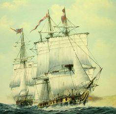 HMS Maidstone closley following HMS Sylphe
