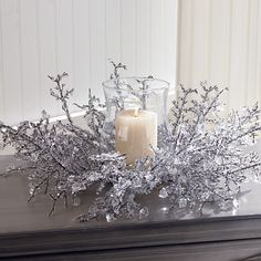 Ice Crystal Centerpiece with Glass Globe