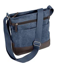 228b6d6058cc7 Denim Blue Washed-Canvas Messenger Bag