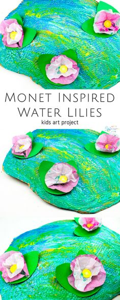 Claude Monet Water Lilies Art Project for Kids can find Monet and more on our website.Claude Monet Water Lilies Art Project for Kids Spring Art Projects, Arts And Crafts Projects, Projects For Kids, Art Project For Kids, Kids Crafts, Children Art Projects, Button Crafts For Kids, Class Art Projects, Decor Crafts