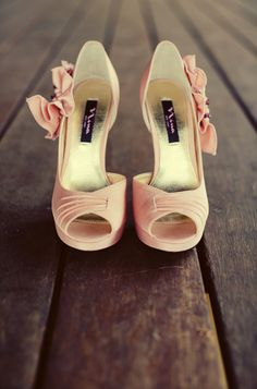 Pretty little pink pumps. Love the ruffle detail. Photo by Joshua Aull Photography. www.wedsociety.com #pink #wedding #shoes