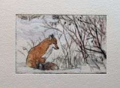 Fox study small drypoint engraving with hand colour by Borealart Drypoint Etching, Watercolor Journal, Landscape Quilts, Fox Art, Art Uk, Wildlife Art, Japan, Painted Rocks, Art Lessons