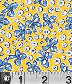 Fat Quarter Adeline Button Ribbon Yellow Cotton Quilting Fabric - 50cm x 55cm